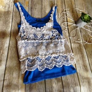 Crochet tank top or swim cover ivory color